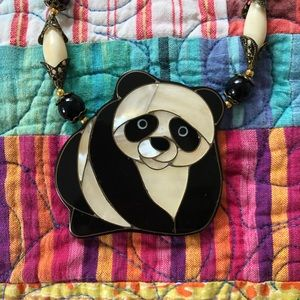 Vintage Panda Necklace made with Abalone Shell.